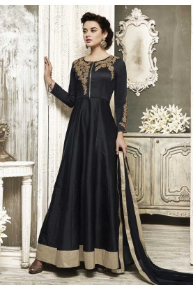 Black Color with Embroidery Work Incredible Unstitched Salwar Kameez