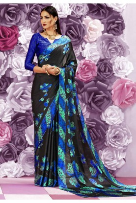 Wonderful Plain Pallu Saree in Radish Black Color