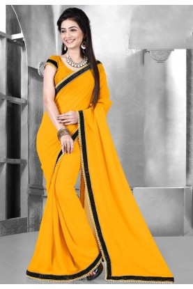 Yellow Color Saree With Fine-looking Plain Pallu