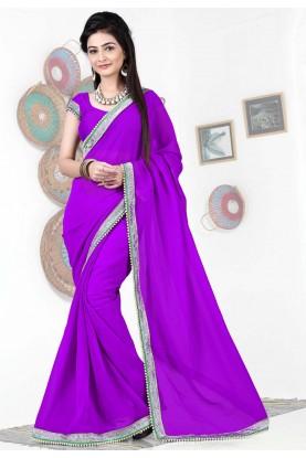Wonderful Plain Pallu Saree in Purple Color