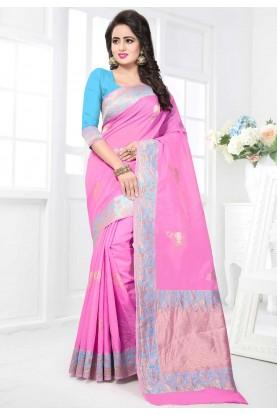Women's Attractive Looking Ethnic Light Pink Color Saree