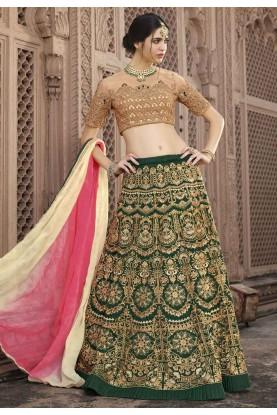 Deep Green Color Engagement Lehenga Choli