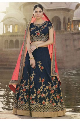 Women's Banglori Silk Fabric & Navy Blue Color Pretty A Line Lehenga Style