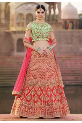 Red,Pink Color Designer Lehenga Choli