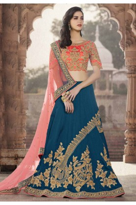 Crepe Silk Fabric Blue Color Bridesmaid Lehenga Choli