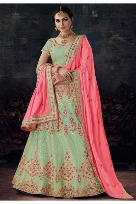 Nice Looking Green Color Designer Lehenga Choli
