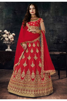 Silk Fabric & Red Color Pretty Unstitched Lehenga Choli