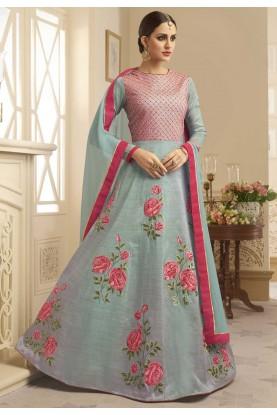 Designer Salwar Kameez Grey,Pink Color