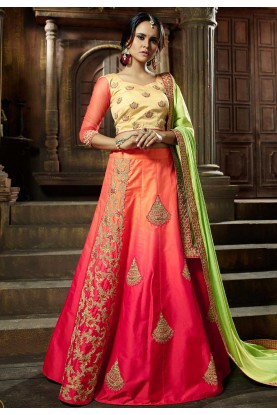 Traditional Look Pink Orange Color Desigenr Lehenga Choli