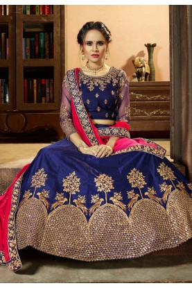 Navy Blue Color Pretty A Line Lehenga Style With Stone,Embroidery Work