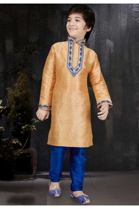 Peach Color Banarasi Silk Readymade Kurta Pajama