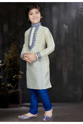 Boy's Art Silk Fabric Cream Color Readymade Kurta Pajama