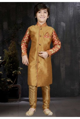 Boy's Art Silk Golden,Beige Color Readymade Kurta Pajama.