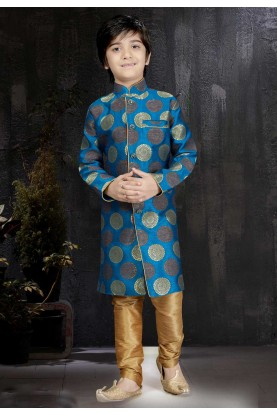 Boy's Art Silk Blue Color Readymade Kurta Set