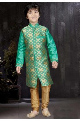 Boy's Banarasi Silk,Jacquard Turquoise Color Readymade Kurta Pajama