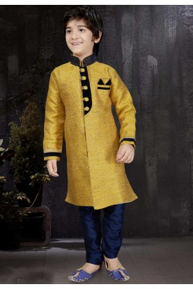 Boy's Yellow Color & Banarasi Silk,Jacquard Fabric Readymade Kurta Pajama.