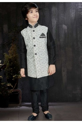 Black,Off White Color Readymade Kurta Pajama.