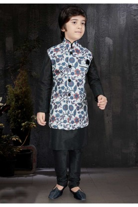 Beautiful Art Silk & Black Color Readymade Kurta Pajama.