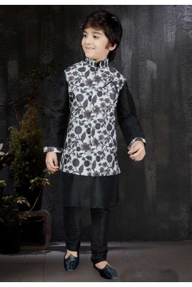 Boy's Black Color & Art Silk Readymade Kurta Pajama