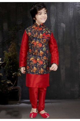 Ethnic Boy's Art Silk Fabric & Red Color Readymade Kurta Pajama.