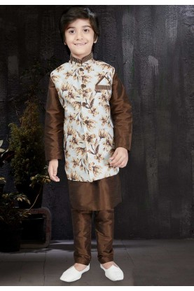 Brown Color & Art Silk Readymade Kurta Pajama