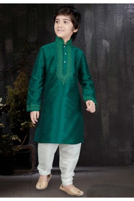 Boy's Art Silk Green Color Readymade Kurta Pajama.