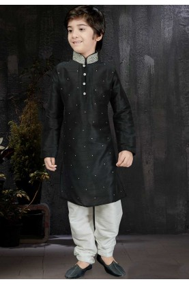 Boy's Black Color Art Silk Readymade Kurta Pajama