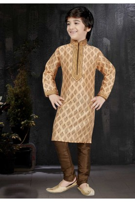 Boy's Peach Color Art Silk Readymade Kurta Set