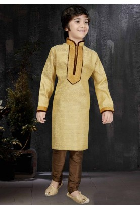 Golden Color & Banarasi Silk,Jacquard Fabric Readymade Kurta Pajama.