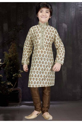 Boy's Off White Color Art Silk Fabric Kurta Pajama.