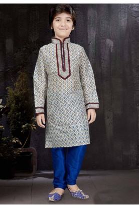 Boy's Art Silk Off White Color Readymade Kurta Set