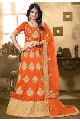 Traditional Look Orange Color Designer Lehenga Choli