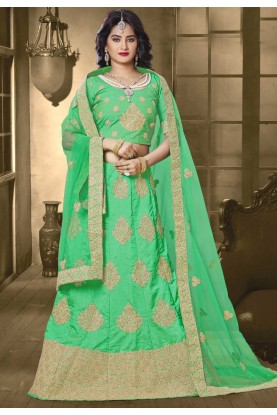 Green Color & Banarasi Silk Bridesmaid Lehenga Choli
