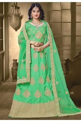 Green Color & Banarasi Silk Bridesmaid Lehenga Choli