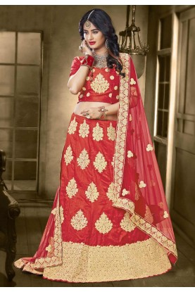 Women's Banarasi Silk Fabric Red Color Pretty Unstitched Lehenga Choli
