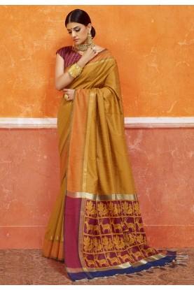 Exquisite Plain Pallu Saree in Yellow Color