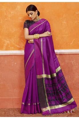 Nice-looking Purple Color Silk Saree