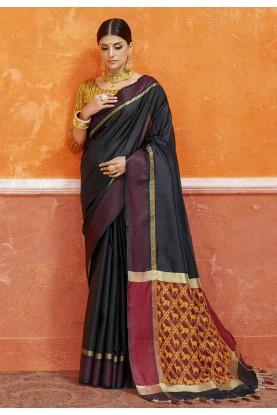 Classic Looking Black Color Silk Saree