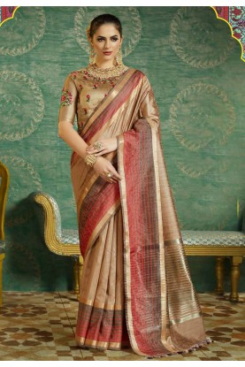 Beautiful Beige Color Silk Saree