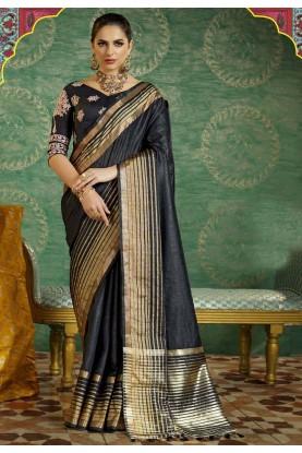 Women's Black Color Silk Ethnic Saree