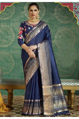 Navy Blue Color Saree With Fine-looking Plain Pallu