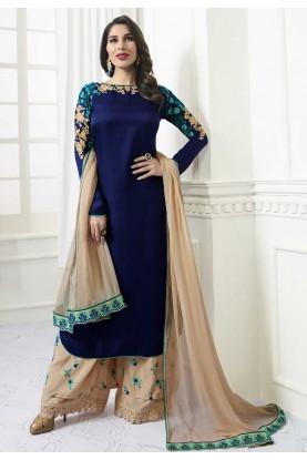 Blue Color Satin Fabric Party Wear Salwar Kameez