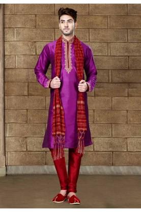 Exquisite Raglan Sleeves Magenta Color Readymade Kurta Pajama.