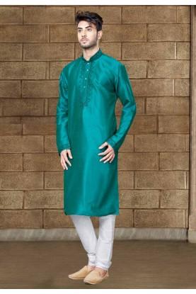 Rama Green Color Art Silk Readymade Kurta Pajama.