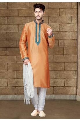 Peach Color Art Silk Readymade Kurta Pajama