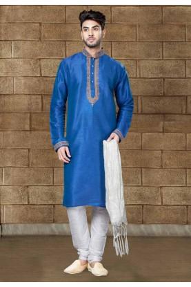 Blue Color Readymade Kurta Pajama For Mens