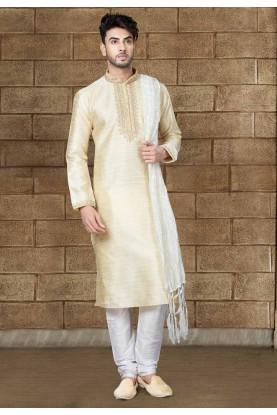 Men's Cream Color Silk Readymade Kurta Pajama.