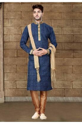 Blue Color Art Silk Readymade Kurta Pajama.