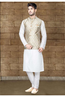 Buy Off White Kurta pajama with jacket online