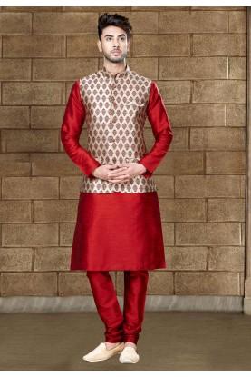 Buy Maroon designer kurta pajama with jacket